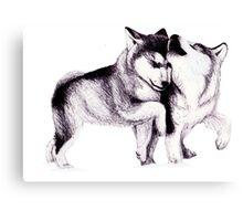 Husky Pups Canvas Print