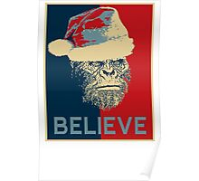Vintage Sasquatch Bigfoot Funny Santa Monkey Believe Obey Poster
