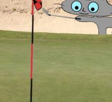 Golfing Kitty Sticker
