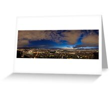 Athens panorama in the blue hour Greeting Card