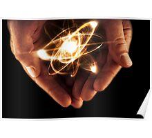 Atom Particle Hands Poster
