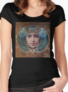 Graceful Vintage French Art Nouveau woman Women's Fitted Scoop T-Shirt