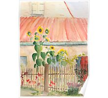 small cottage garden with sunflowers Poster