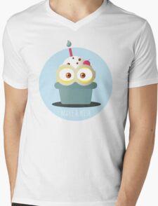 Minion Cupcake Mens V-Neck T-Shirt