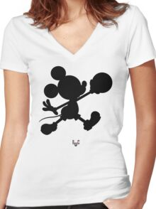 Bucket Club Mickey Jumpman 2  Women's Fitted V-Neck T-Shirt