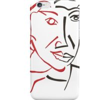 Cubist man face drawing iPhone Case/Skin