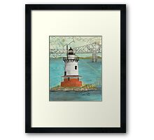 Tarrytown Lighthouse NY Nautical Map Cathy Peek Framed Print