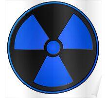 Blue Radioactive Fallout Symbol - Geek Epic Gamer Nerd Boy Poster