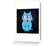 Funny Blue Cat Named Scruffy Greeting Card