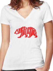red california bear Women's Fitted V-Neck T-Shirt