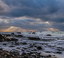 Cape St. Mary Sun Rays on the Stormy Ocean by Debbie  Roberts