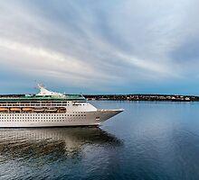 Cruise Ship Sailing at Dusk by dbvirago