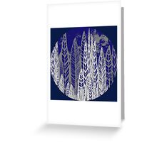 Flax Leaves - blue, grey & blue Greeting Card