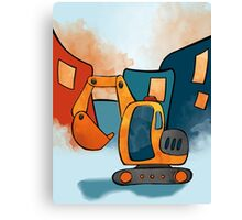 Backhoe Construction Truck for Kids Canvas Print