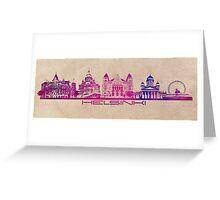 Helsinki skyline purple Greeting Card