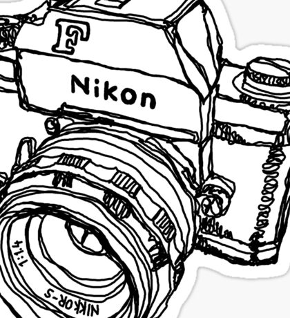Nikon F Classic Film Camera Illustration Sticker