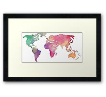 rainbow watercolor continents Framed Print