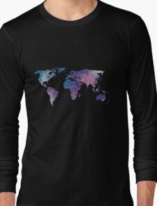 geometric watercolor continent Long Sleeve T-Shirt
