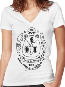 Cats & Metal Women's Fitted V-Neck T-Shirt
