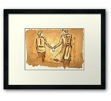 Coffee-painted John and Sherlock Framed Print