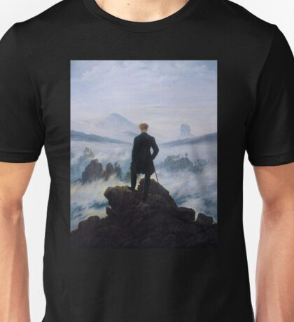 Man in a sea of fog Antique German painting Unisex T-Shirt