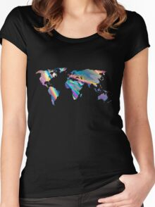 holographic continents Women's Fitted Scoop T-Shirt