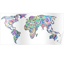 swirly design continents Poster