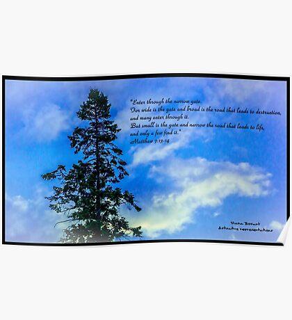 Bible Verse Matthew 7:13-14 Poster