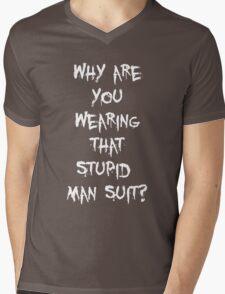 Donnie Darko - man suit (white font) Mens V-Neck T-Shirt