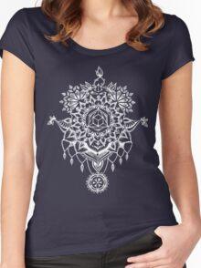 Geometric Mandala Black Women's Fitted Scoop T-Shirt