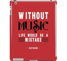 Without Music Quote Art iPad Case/Skin
