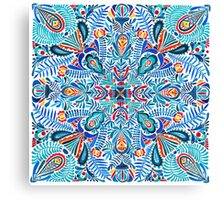 Navy-red watercolor mandala pattern Canvas Print