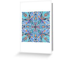 Navy-red watercolor mandala pattern Greeting Card