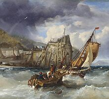 James Webb (London )  Fishing boats in a heavy swell off a jetty by Adam Asar
