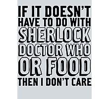 Sherlock Doctor Who and Food Photographic Print
