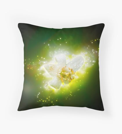 Digitally manipulated Orange blossom on a tree in a garden  Throw Pillow