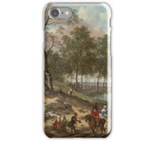 Jan Wijnants Johannes Lingelbach , A RIVER LANDSCAPE WITH ELEGANT TRAVELERS AND A BEGGAR IN A DUNE LANDSCAPE iPhone Case/Skin