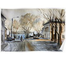Late Autumn in the Town Valday Poster