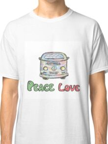 Colorful hippie car, peace and love words Classic T-Shirt
