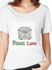 Colorful hippie car, peace and love words Women's Relaxed Fit T-Shirt