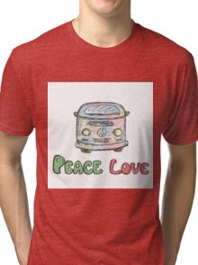 Colorful hippie car, peace and love words Tri-blend T-Shirt