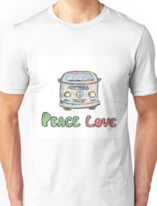 Colorful hippie car, peace and love words Unisex T-Shirt