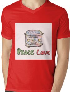 Colorful hippie car, peace and love words Mens V-Neck T-Shirt