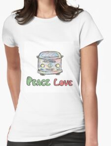 Colorful hippie car, peace and love words Womens Fitted T-Shirt