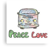 Colorful hippie car, peace and love words Canvas Print