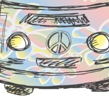 Colorful hippie car, peace and love words Sticker