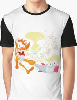 Cat and fish Graphic T-Shirt
