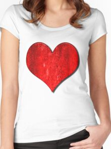 Heart With Grungy Bevelled Texture Women's Fitted Scoop T-Shirt