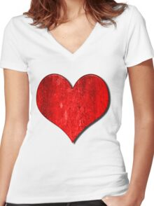 Heart With Grungy Bevelled Texture Women's Fitted V-Neck T-Shirt