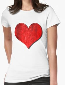 Heart With Grungy Bevelled Texture Womens Fitted T-Shirt